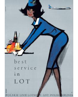 Polish Airlines LOT Stewardess Advertising Poster 1971//2018 Grabianski artwork